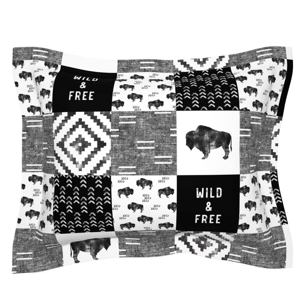 Sebright Pillow Sham featuring Buffalo - Wild and Free - Black, Grey, White - boho style  by littlearrowdesign
