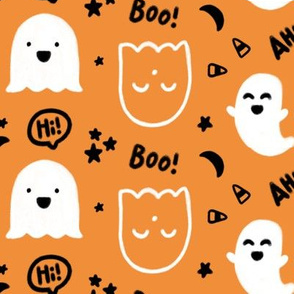 """Happy Ghosts"" for Halloween (Candy Corn, Stars, Moon, Happy Ghost)"