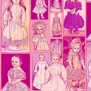 Antique Dolls in Violet and Rose