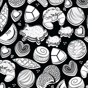 Normal scale // Mexican Sweet Bakery Frenzy // black background white colouring pan dulce