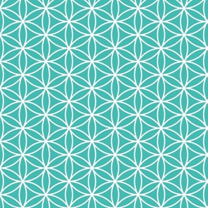 Flower of Life teal fabric
