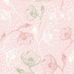Vintage rose-outline-pinkdots