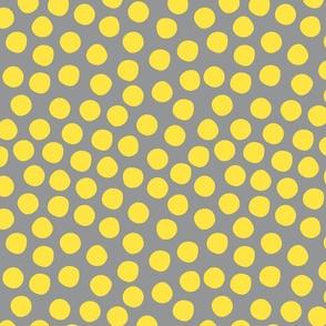 Organic dots Illuminating Yellow Ultimate Gray large scale retro Fabric