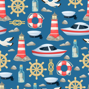nautical ocean life pattern