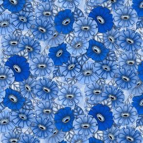 Blue monochrome zinnias