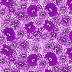 Purple monochrome zinnias