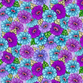 Zinnias in teal and purple