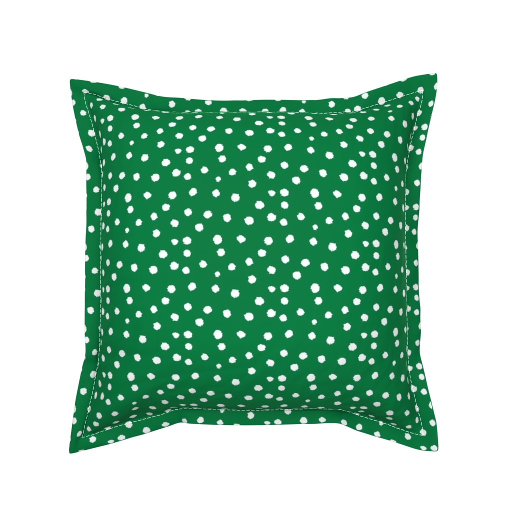 Serama Throw Pillow featuring Painted Polka Dot // Kelly Green by theartwerks
