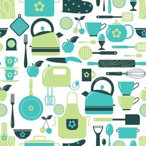 Busy Kitchen Blue And Green Pattern