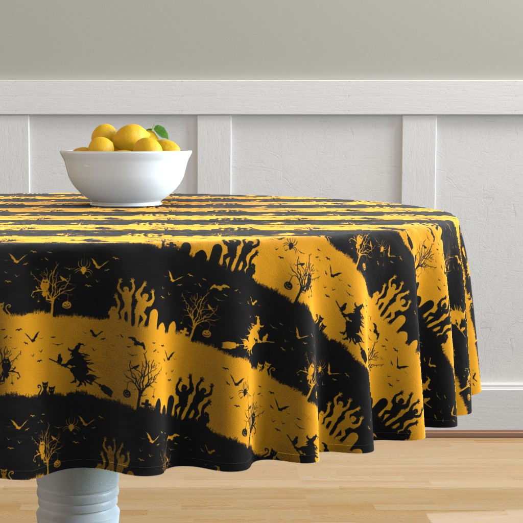 Malay Round Tablecloth featuring Pale Pumpkin Orange and Black Halloween Nightmare Stripes  by paper_and_frill
