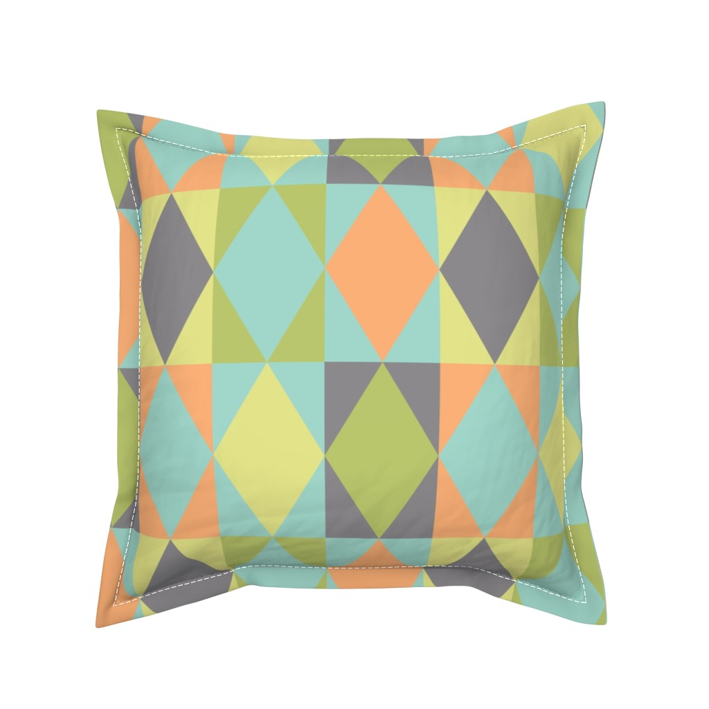 Serama Throw Pillow featuring Diamond shapes in 1950s pastel large scale Bedding Fabric by danadu