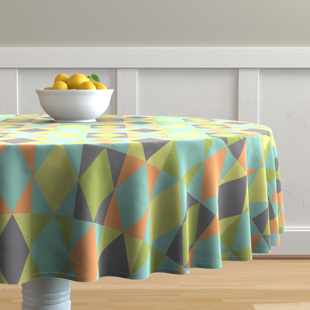 Malay Round Tablecloth featuring Diamond shapes in 1950s pastel large scale Bedding Fabric by danadu