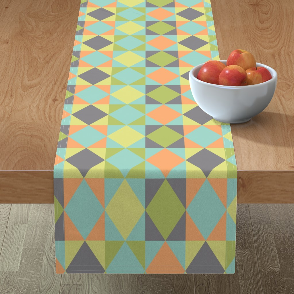 Minorca Table Runner featuring Diamond shapes in 1950s pastel colors fabric by danadu