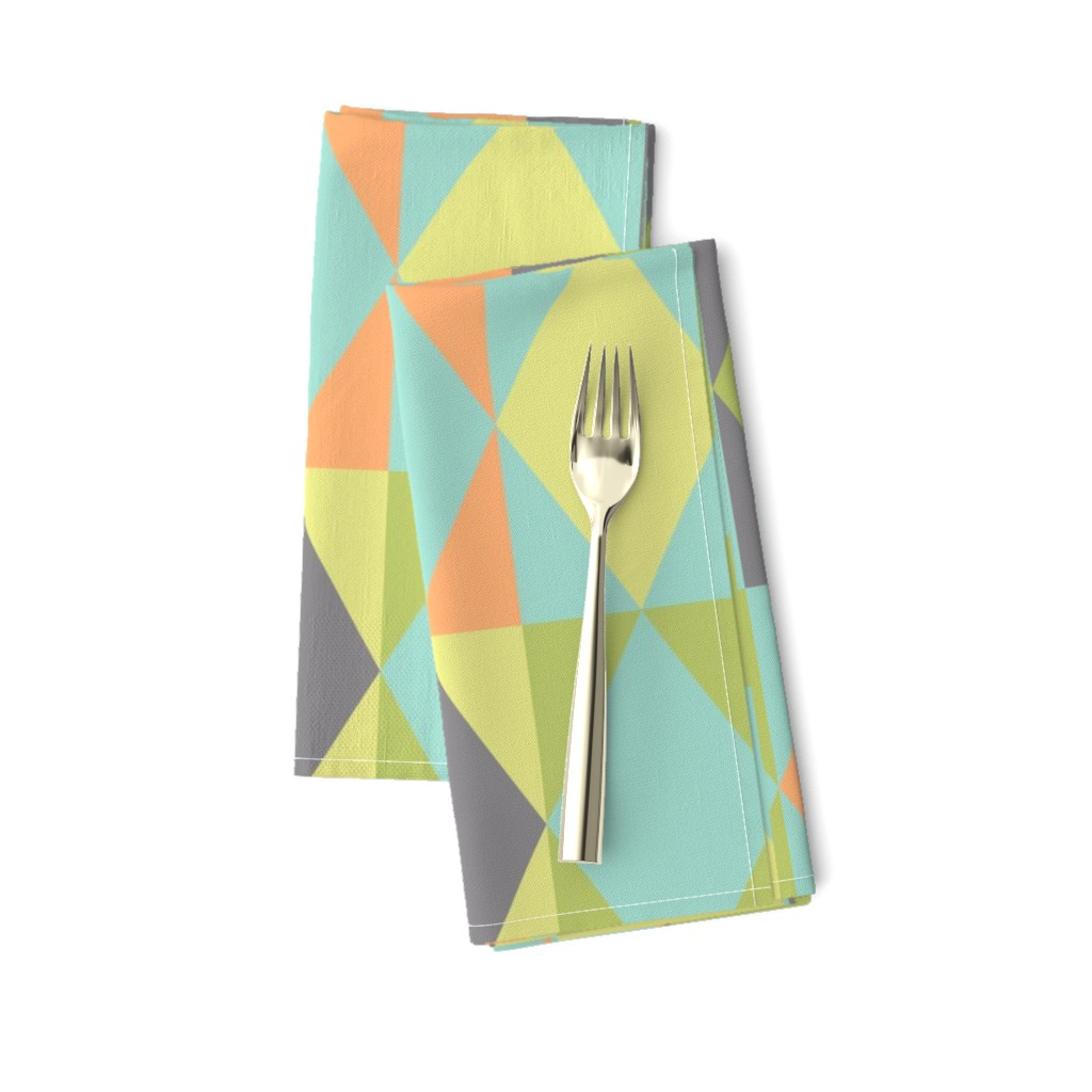 Amarela Dinner Napkins featuring Diamond shapes in 1950s pastel large scale Bedding Fabric by danadu