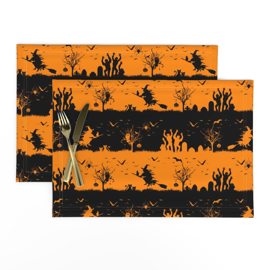 Lamona Cloth Placemats featuring Pale Pumpkin Orange and Black Halloween Nightmare Stripes  by paper_and_frill