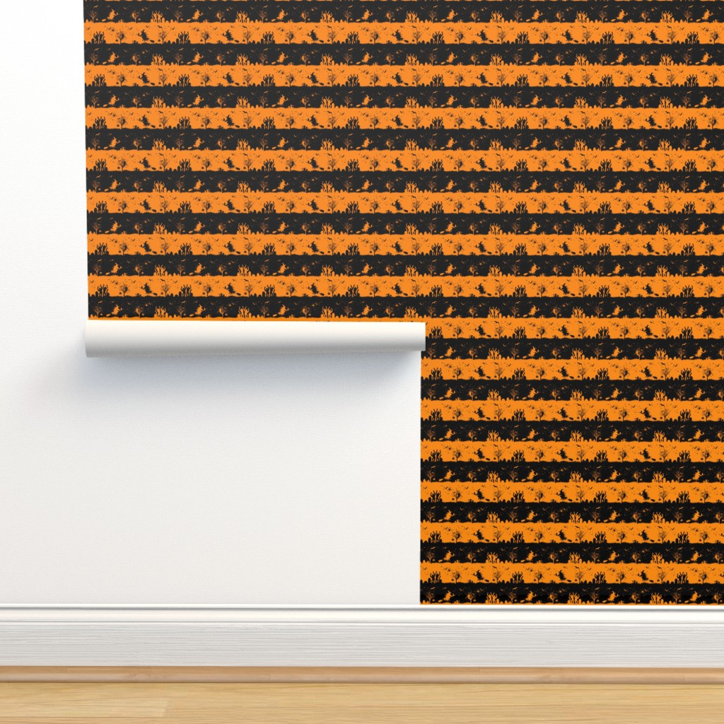 Isobar Durable Wallpaper featuring Pale Pumpkin Orange and Black Halloween Nightmare Stripes  by paper_and_frill
