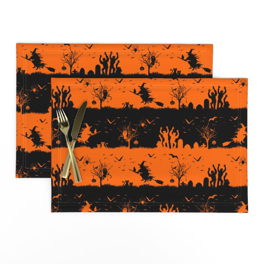 Lamona Cloth Placemats featuring Dark Pumpkin Orange and Black Halloween Nightmare Stripes  by paper_and_frill