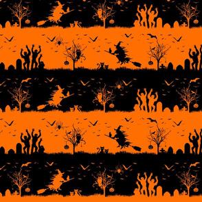Dark Pumpkin Orange and Black Halloween Nightmare Stripes