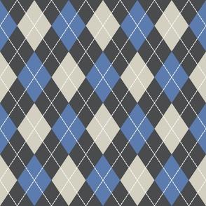 Dashed argyle diamonds pattern blue, cream, black large scale classic Fabric Wallpaper