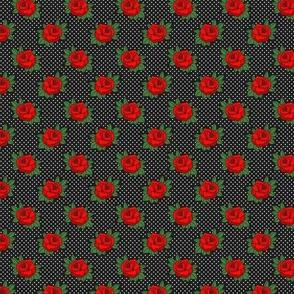 50s Retro Rockabilly tattoo red rose on black & white polka dots Wallpaper Fabric