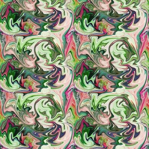 BNS4 - MED -  Marbled Mystery Swirls in Greens - Pinks