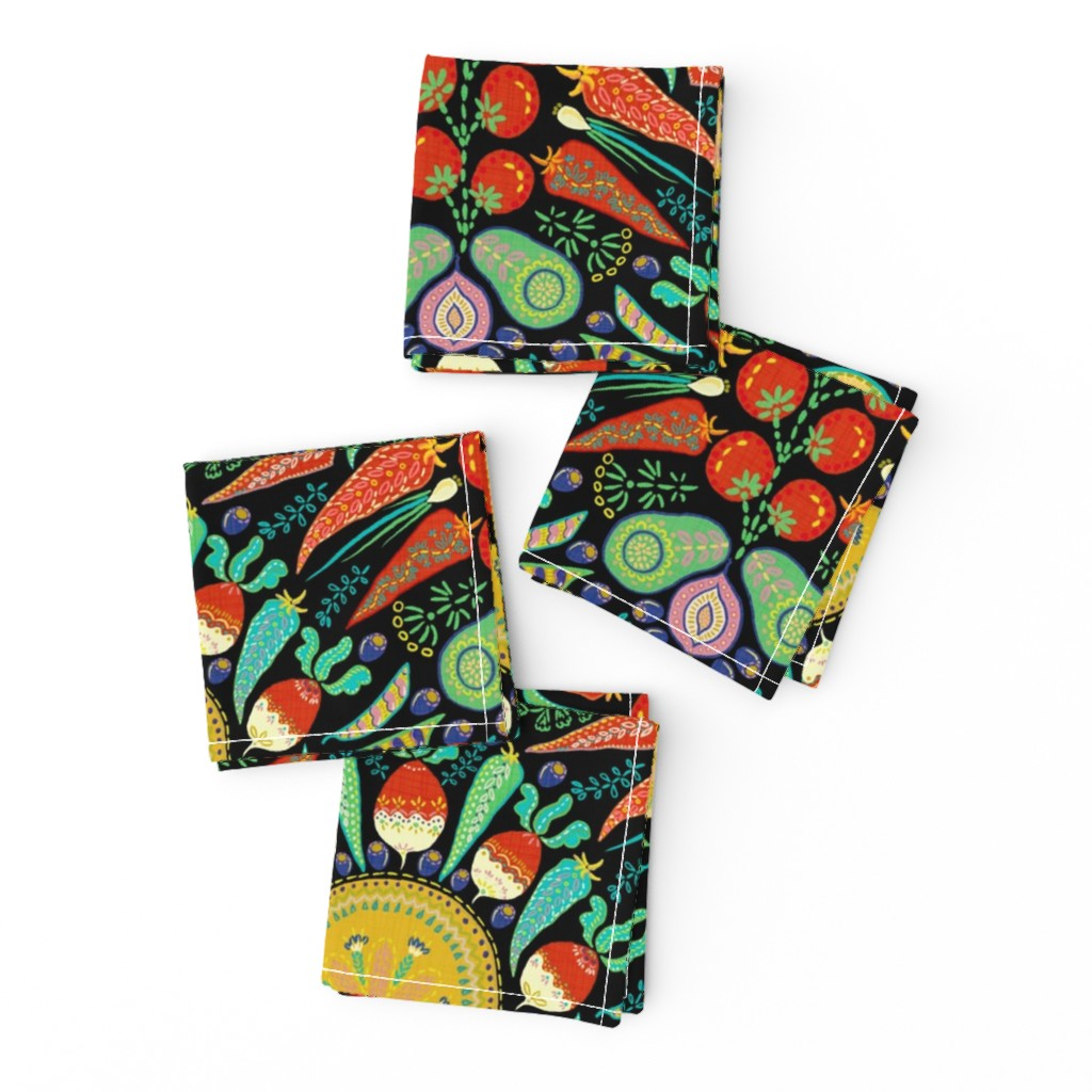 Frizzle Cocktail Napkins featuring Mexican Taco Fiesta (black) by helenpdesigns