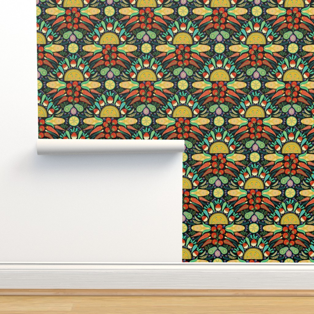 Isobar Durable Wallpaper featuring Mexican Taco Fiesta (black) by helenpdesigns