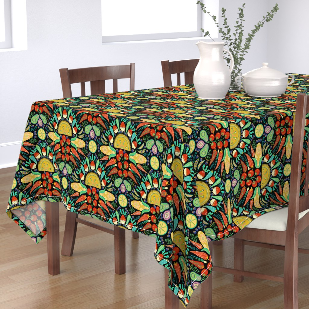Bantam Rectangular Tablecloth featuring Mexican Taco Fiesta (black) by helenpdesigns