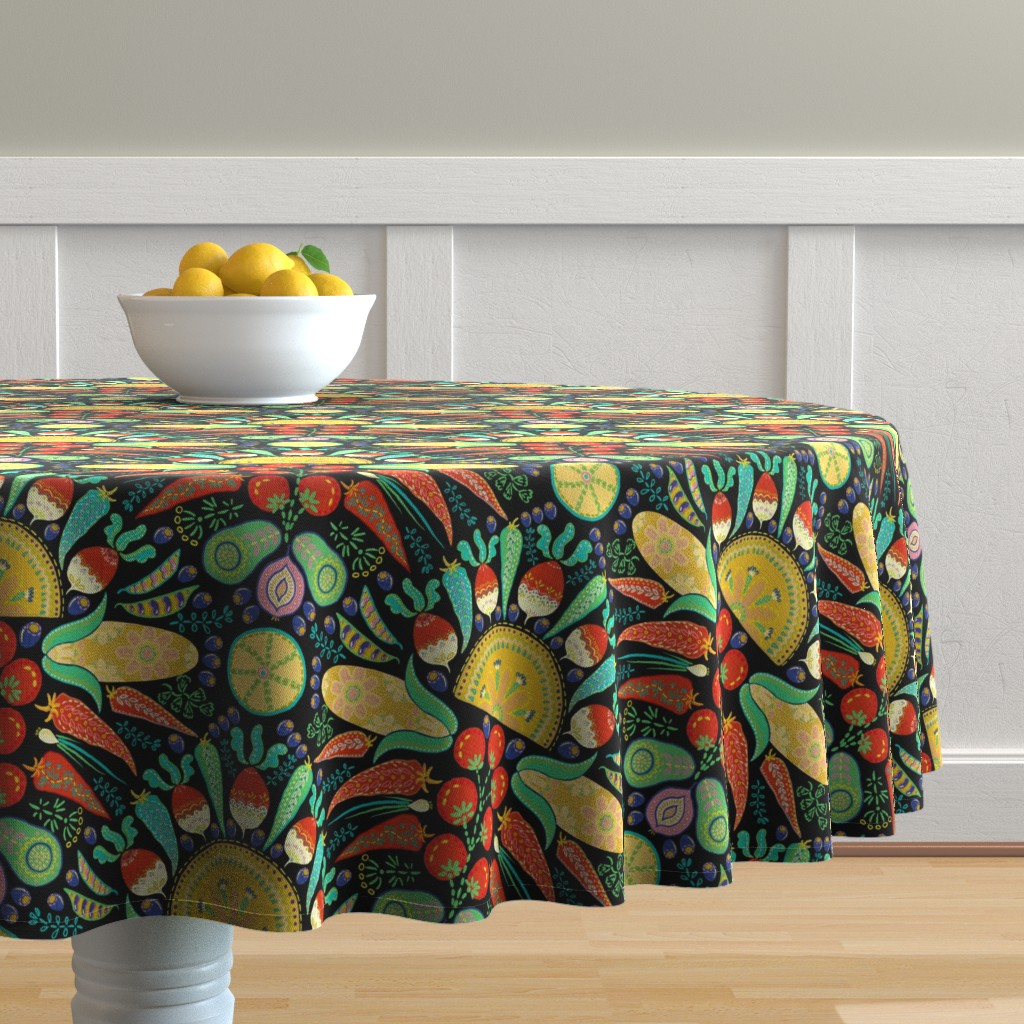 Malay Round Tablecloth featuring Mexican Taco Fiesta (black) by helenpdesigns