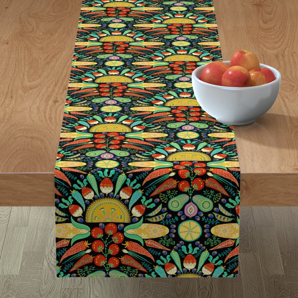 Minorca Table Runner featuring Mexican Taco Fiesta (black) by helenpdesigns
