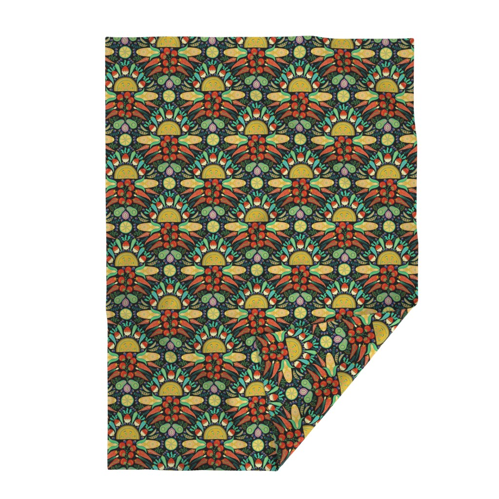 Lakenvelder Throw Blanket featuring Mexican Taco Fiesta (black) by helenpdesigns