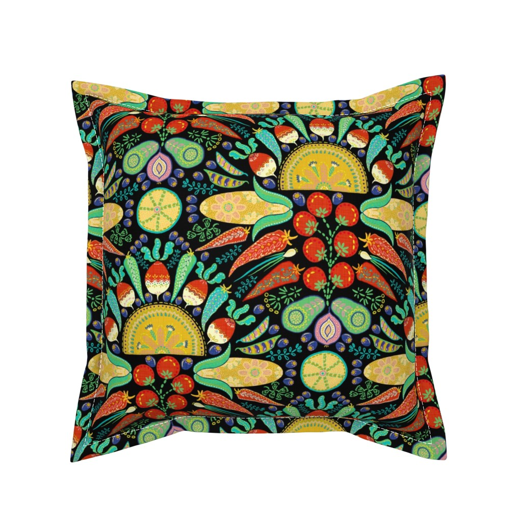 Serama Throw Pillow featuring Mexican Taco Fiesta (black) by helenpdesigns