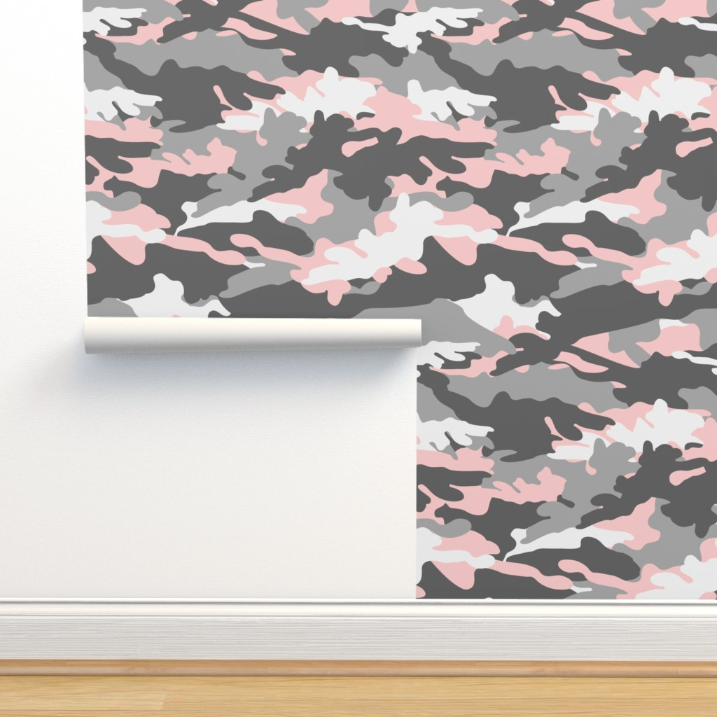 Isobar Durable Wallpaper featuring pink and grey camouflage - camo - little lady coordinate by littlearrowdesign