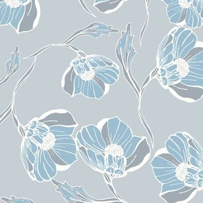 Vintage rose block print blue grey