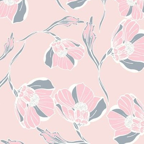 Vintage rose block print pink grey
