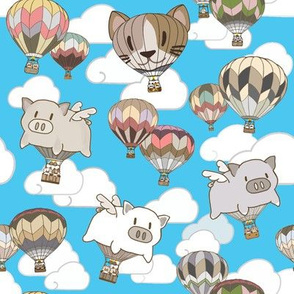 Flying Pig & Kitty Hot-Air Balloons Blue Sky