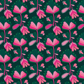 Bold pink abstract floral on a midnight green base