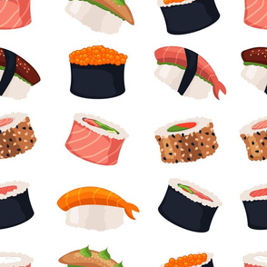 Sushi rolls seafood fish rice japanese food
