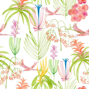 Flamingo and Exotic Flowers