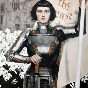 custom bigger Joan of Arc Jeanne d'Arc The Maid of Orléans french france heroine woman lady warrior soldier lily lilies white flowers floral sword armor famous historical history knight fighter castles flags medieval  flags banner