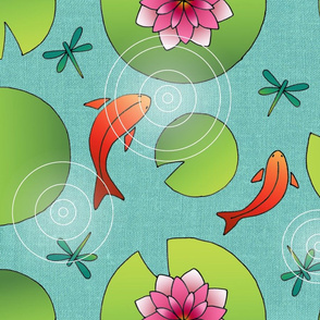 goldfish and water lilies