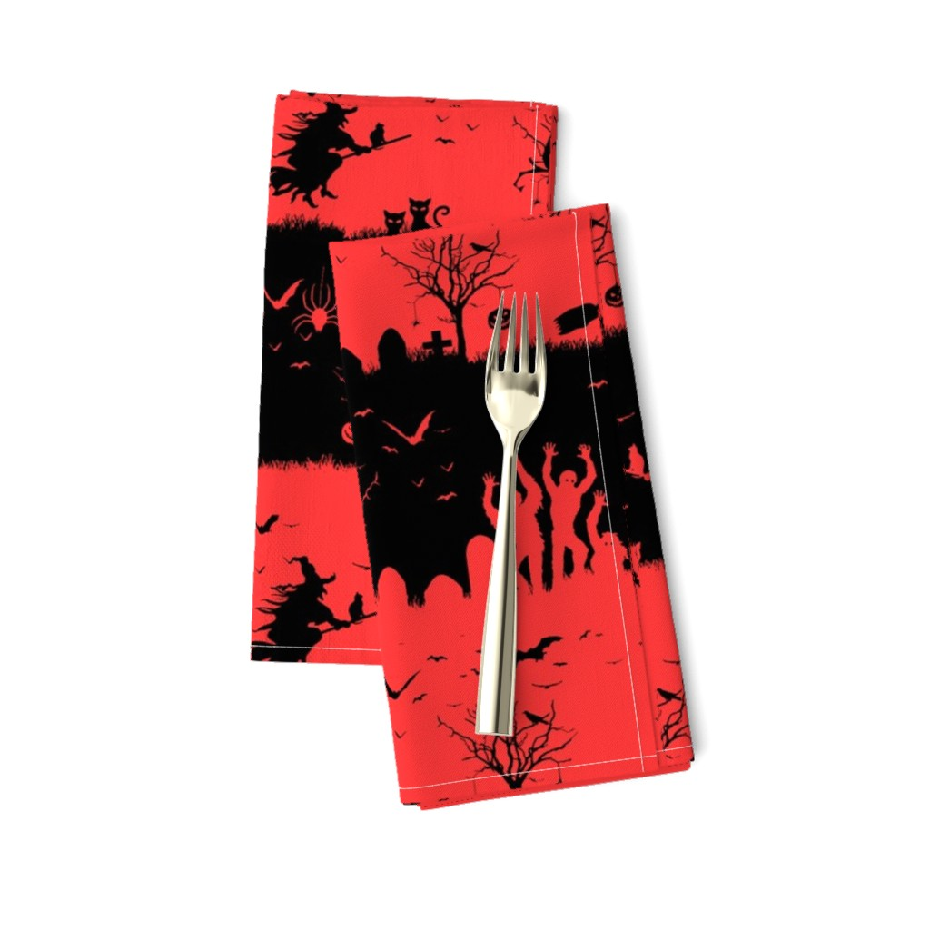 Amarela Dinner Napkins featuring Donated Kidney Pink and Black Halloween Nightmare Stripes  by paper_and_frill