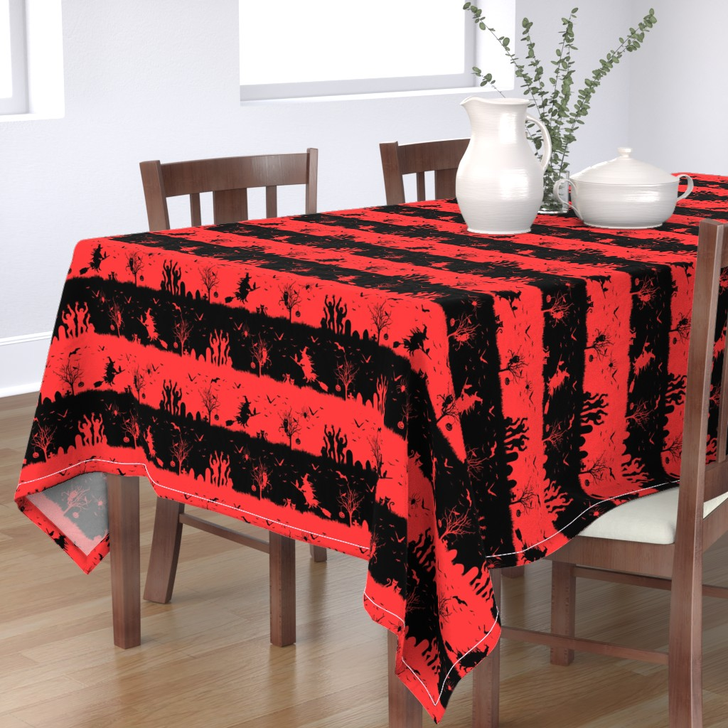 Bantam Rectangular Tablecloth featuring Donated Kidney Pink and Black Halloween Nightmare Stripes  by paper_and_frill
