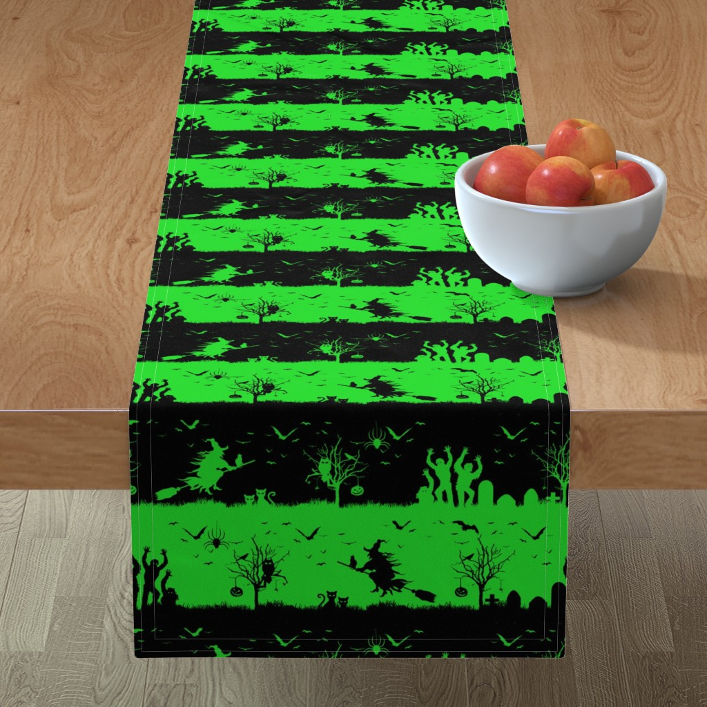 Minorca Table Runner featuring Monster Green and Black Halloween Nightmare Stripes  by paper_and_frill