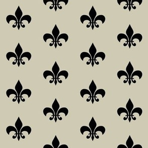 fleur de lis - tan and black
