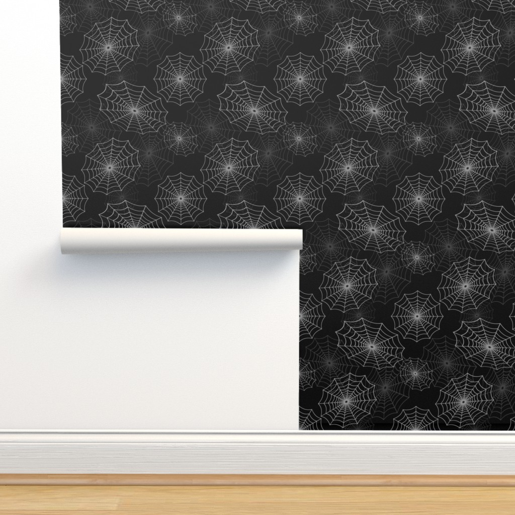 Isobar Durable Wallpaper featuring White Spider Web Cobweb Silk Pattern on Black by paper_and_frill