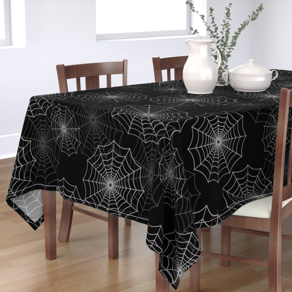 Bantam Rectangular Tablecloth featuring White Spider Web Cobweb Silk Pattern on Black by paper_and_frill