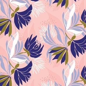 Soft, delicate, feminine blue floral on a pink base