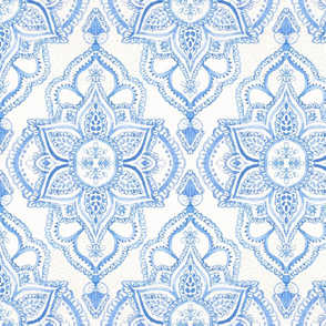 Boho Damask Watercolor Blue