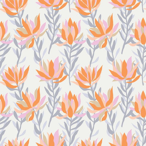Soft meadow floral pattern on a cream base